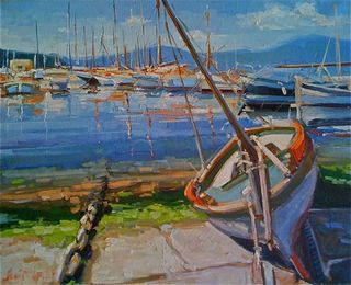 Henri Letitit, Boat scene south of France, Westport River Gallery, Connecticut