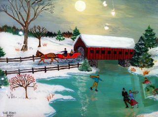 Milton Bond, Reverse Glass painting, Westport River Gallery, skaters on river