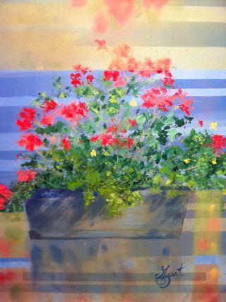 Mo Gart, Red Flowers, 24x20, Westport River Gallery