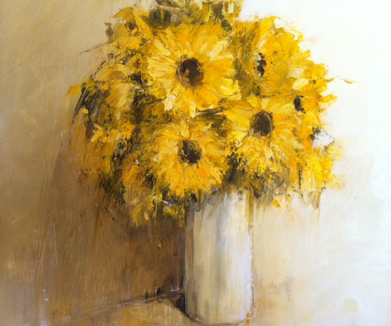 Poumelin, French Artist, Yellow Floral, 24x24, Westport River Gallery, Westport, CT