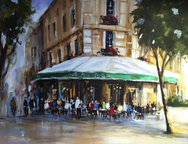 Poumelin, French Artist, French Cafe, 32x32, Westport River Gallery, Westport, CT