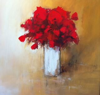 Poumelin, French Artist, Rouge, 24x24, Westport River Gallery, Westport, CT