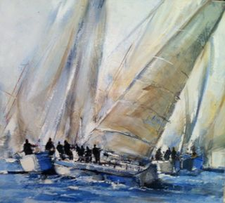 Poumelin, French Artist, French Regatta 2, 20x20, Westport River Gallery, Westport, CT