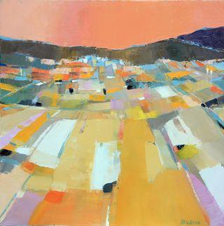 Village under pink sky 24x24