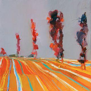 Furrowed fields in Autumn 16x16