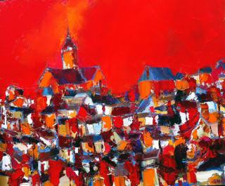Ville au ciel rouge, Caudron, Westport River Gallery