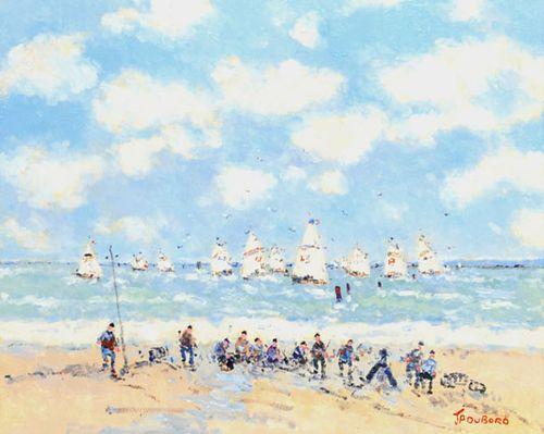 Dubord, 15x18, Les Voiliers et les Pecheurs sur la Cote Normande, Sailboats at Normandy