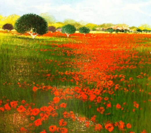 Dominique Dorie, French art, Westport River Gallery, 16x16, Field of Poppies, 2013