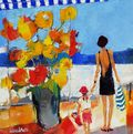 Seaside With Someone Special 16x16 Caudron Westport River Gallery