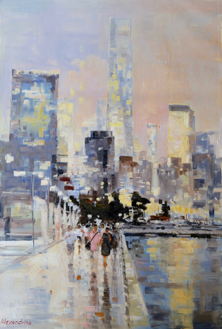New York Sunset_20x20_Alexandrina_The Westport River Gallery