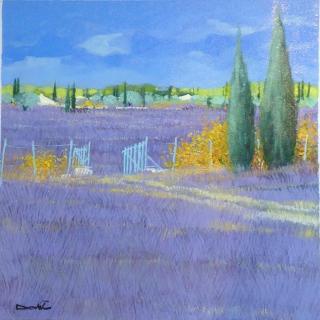 Dorie_Lavender Field with Blue Gate_12x12_Westport River Gallery