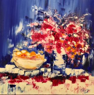 Vilcaz, 32x32, Red Floral