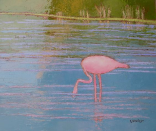 EStivalet  Peaceful Flamingo. 15x18.