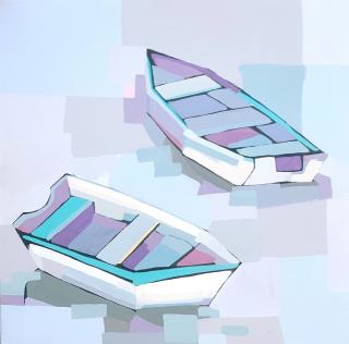 Alma  Boats in Blue 2  24x24