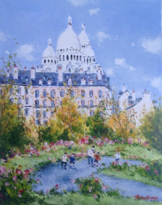 Trudaine Sq in Montmartre and  Church of Sacred Heart
