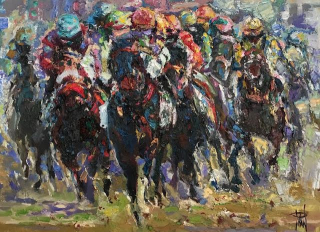 Horse raceing 18x24